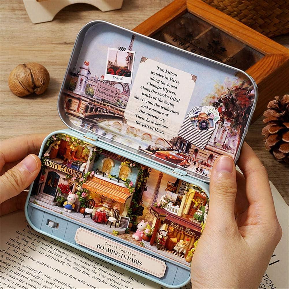 Maisons De Poup/ées Miniatures Kit DIY Dollhouse Cadeau De Noel Mini Maison En Bois Miniature Assembl/ée De Bo/îte De Th/é/âtre De Jouets Avec Des Meubles Pour Le Cadeau Danniversaire De No/ël Denfants
