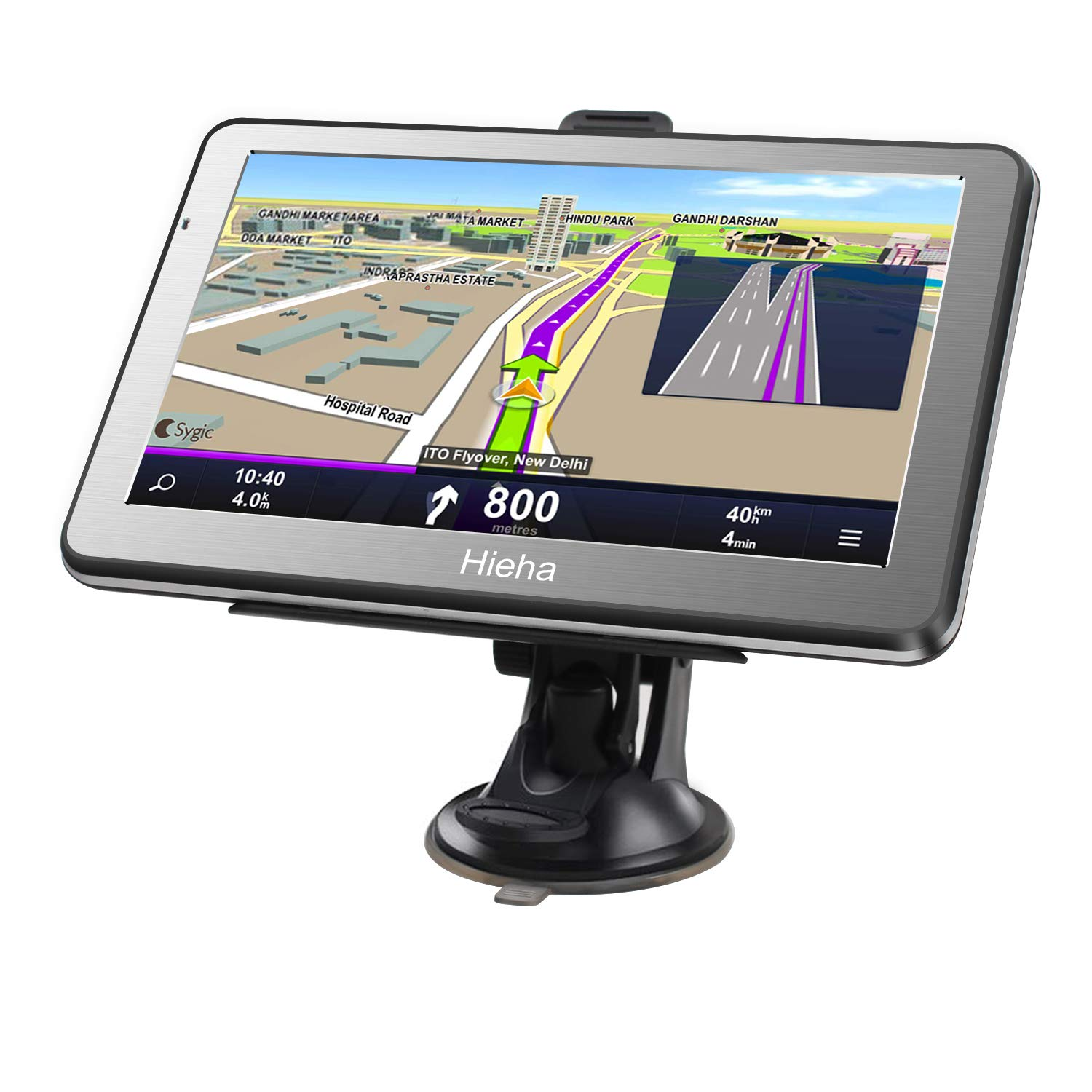 Hieha 7 Inches Navigation System for Car Truck RV Vehicles with Pre-Loaded US/CA/MX Maps, 8GB 256Mb Touch Screen GPS Navigation Device with Car Bracket Holder, Lifetime Free Map Updates by Hieha