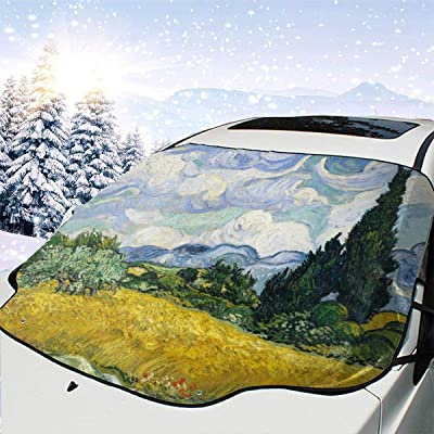 PandainspirS Car Windshield Snow Cover Sunshade Protector Sun Shade Snow Ice Frost Protector Waterproof for Cars Trucks Vans SUV All Weather Winter Summer-Van Gogh Cypresses: Car Electronics