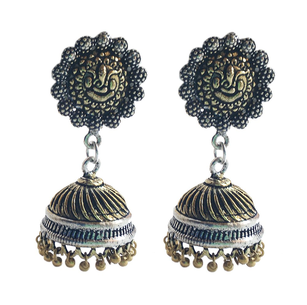 JewelQueen Two Tone Plated Oxidized light Weight Jhumka Earrings For Women