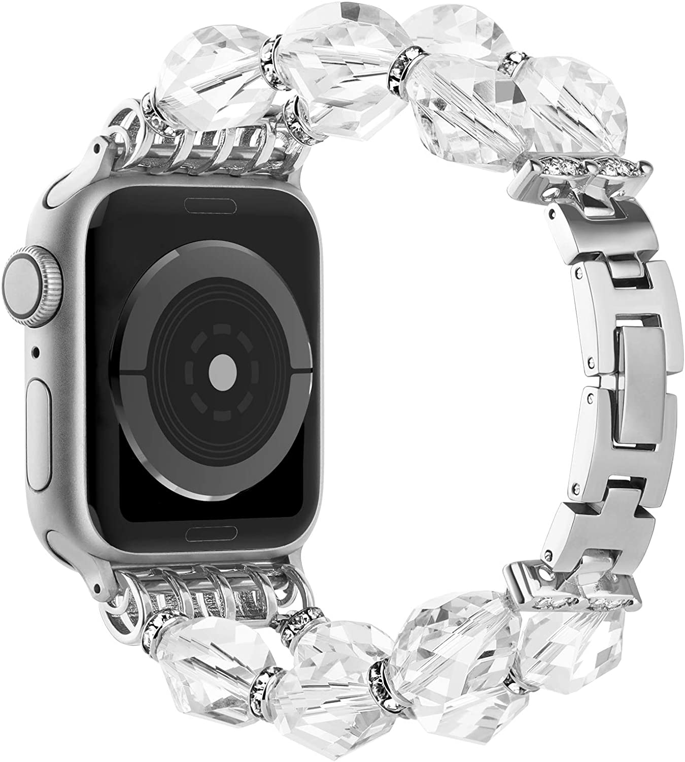 Simpeak Beaded Fashion Band Compatible with Apple Watch 42mm 44mm Series 6 SE 5 4 3 2 1, Adjustment Handmade Beaded Elastic Women Bracelet with Buckle Replacement for iWatch 42 44, White
