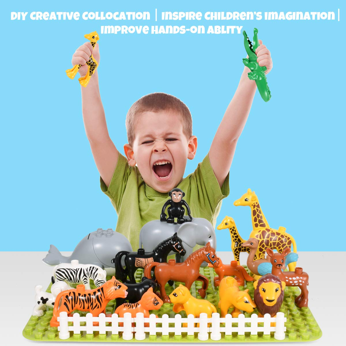 Animal Building Blocks Toy Set 25 PCS Juggle Animals Play Set Party Favor Birthday Educational Reward Fits Boys and Girls Plastic Animals Figures Toys for Toddlers