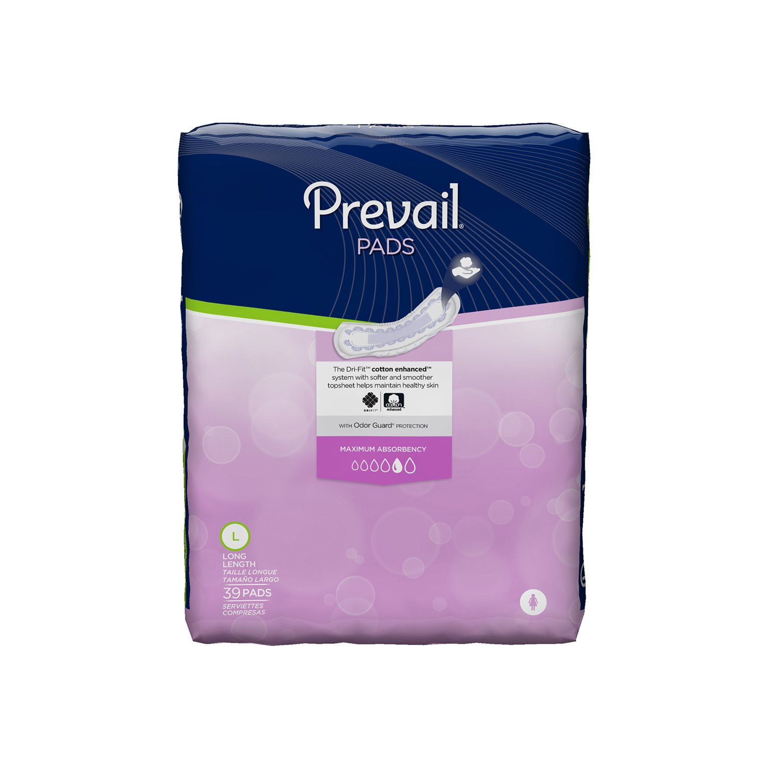 Prevail Maximum Absorbency Incontinence Bladder Control Pads, Long, 39-Count