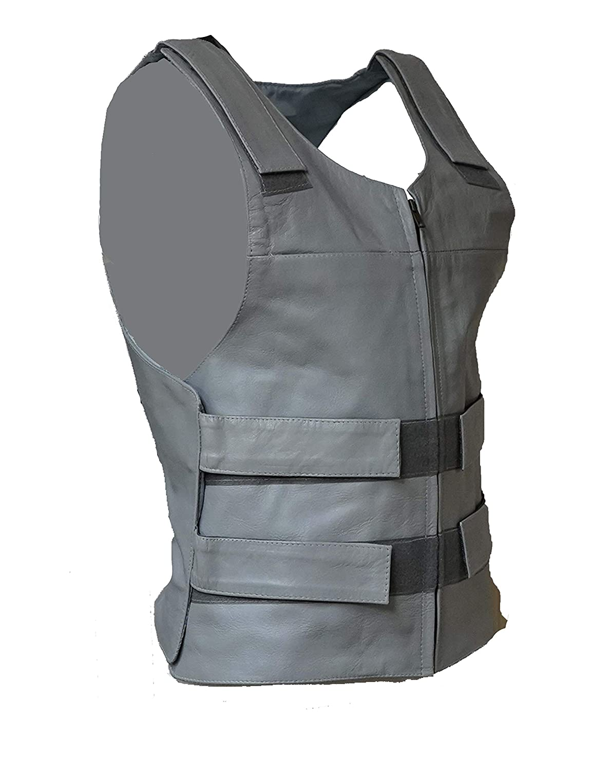 S, Orange IKleather Mens Bullet Proof style Leather Motorcycle Vest for bikers Club Tactical Vest