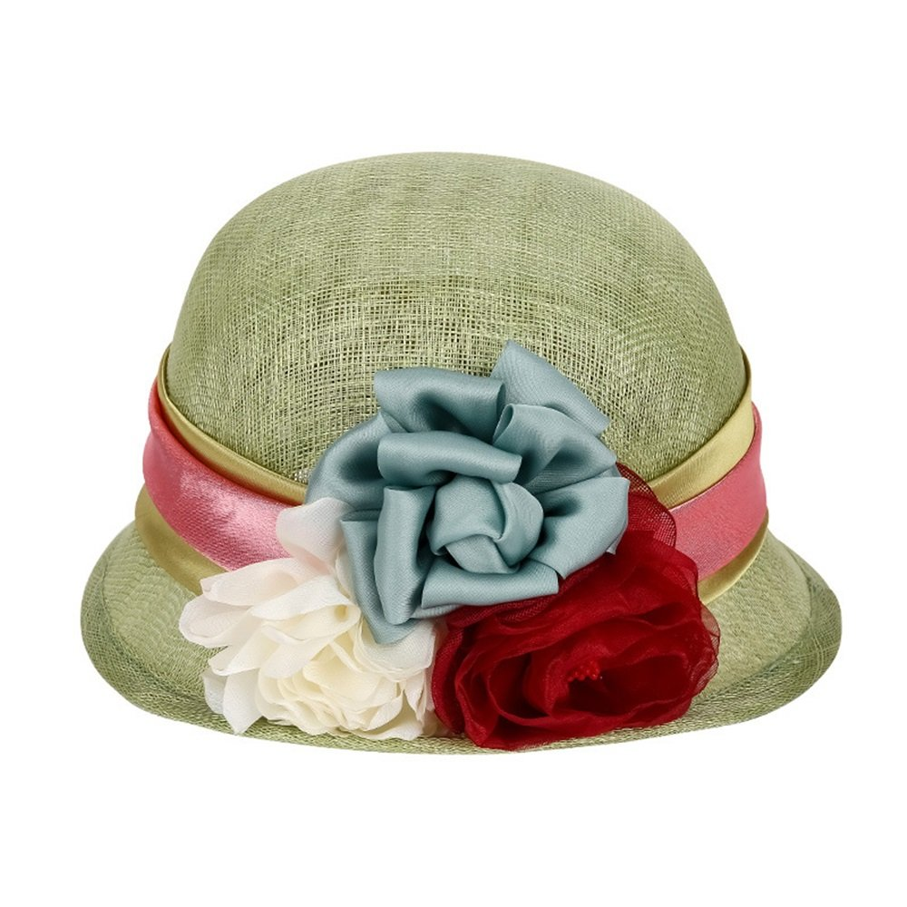 Lady Boater Sun Caps, Women's Hat with Flower Decoration Cool Sunshade Beach Hat (Size   M)