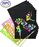 Rainbow Scratch Paper, Mega Value 20 Sheet Rainbow Art Scratch Boards.( 2 stylus and 2 rulers )