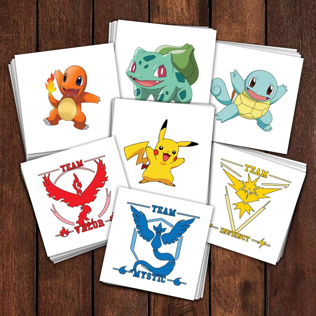 Pokémon Party Pack Temporary Tattoos | Over 25 Tattoos | Skin Safe | MADE IN THE USA| Removable