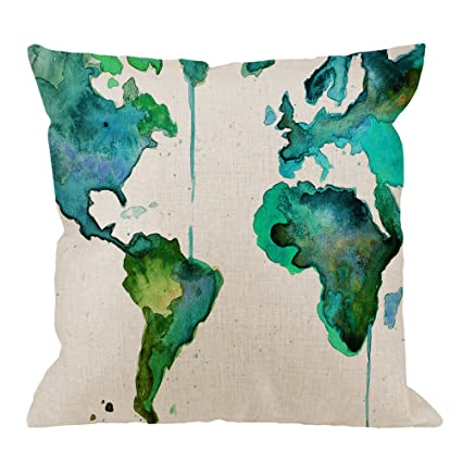 Amazon Com Hgod Designs World Map Pillow Case Green Watercolor