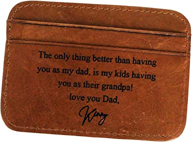 Business Card Case Awerise Personalized Genuine Leather Credit Card Holder Custom Printed Wallet for Men