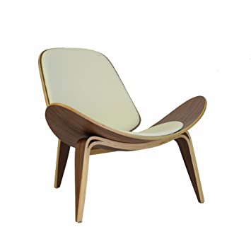 Design Tree Home Hans Wegner Shell Chair Replica, Walnut Plywood And White  Leather