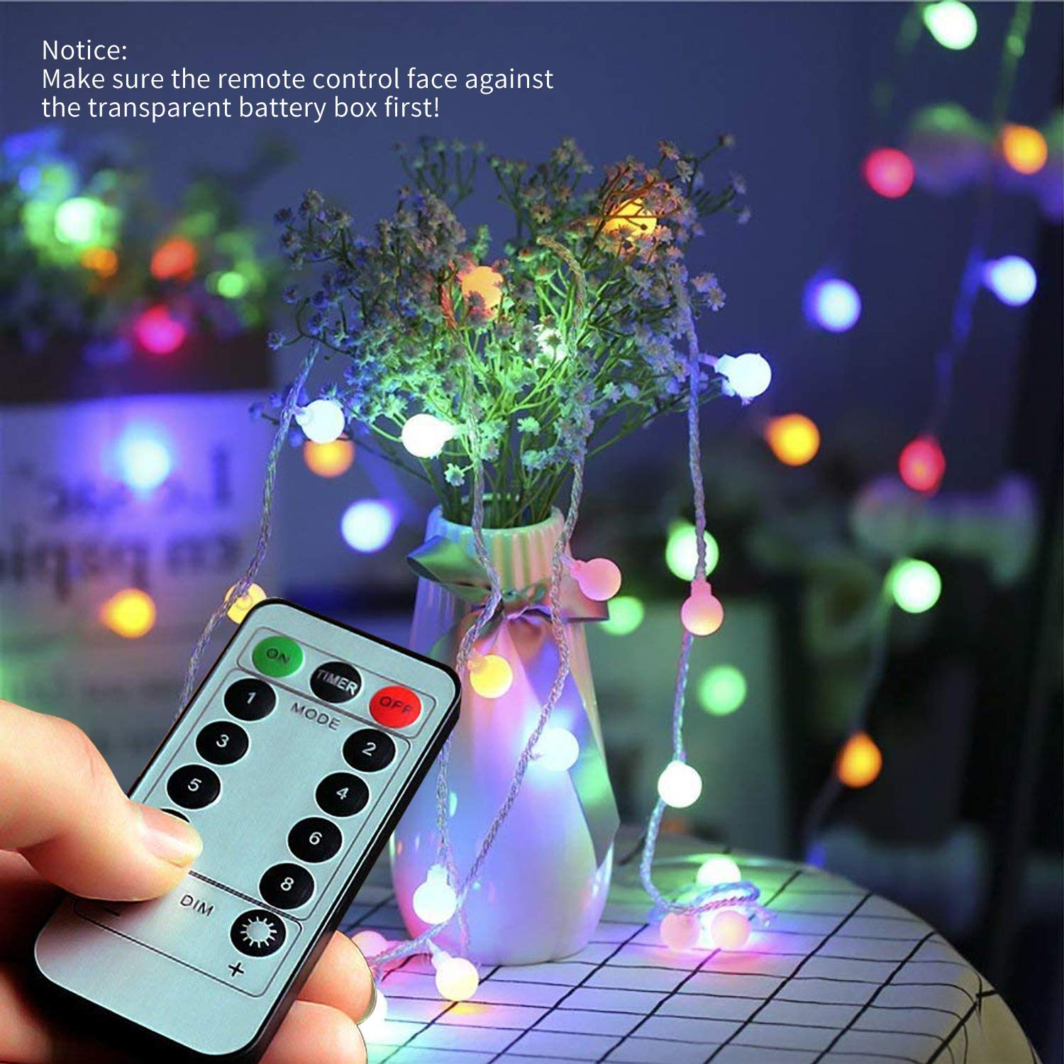 [Remote Control] 50 LED 5m Globe Fairy Light, Waterproof Battery Powered Starry String Decorative Ball Lights, with 8 Function Modes for Camping,Garden, Home, Wedding, Christmas Party(Multi Color)