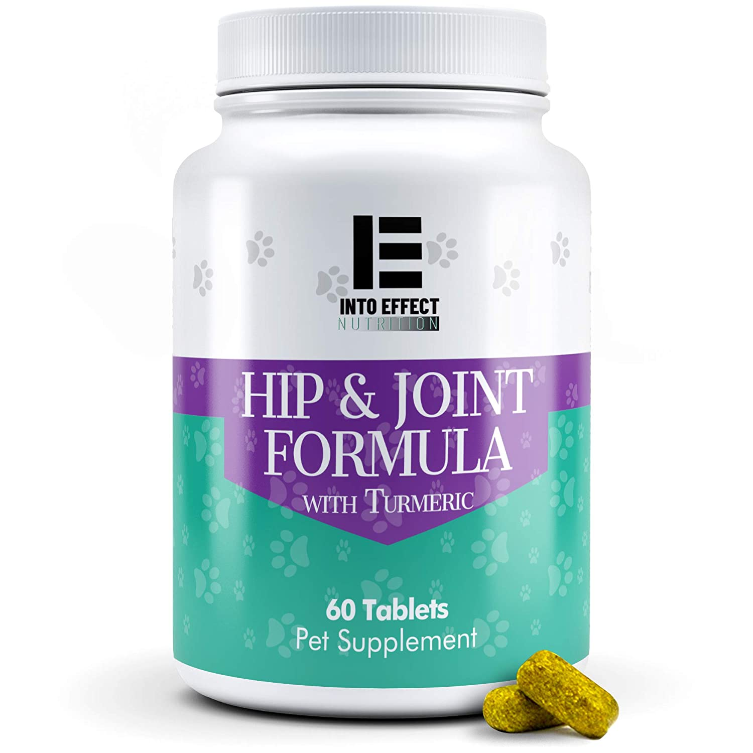 Into Effect Hip and Joint Formula with Turmeric Complex Supplement for Dogs with Glucosamine, Chondroitin, MSM, and Organic Turmeric - Supports Heal - Provides Relief of Dog Joint Pain - 100% Natural