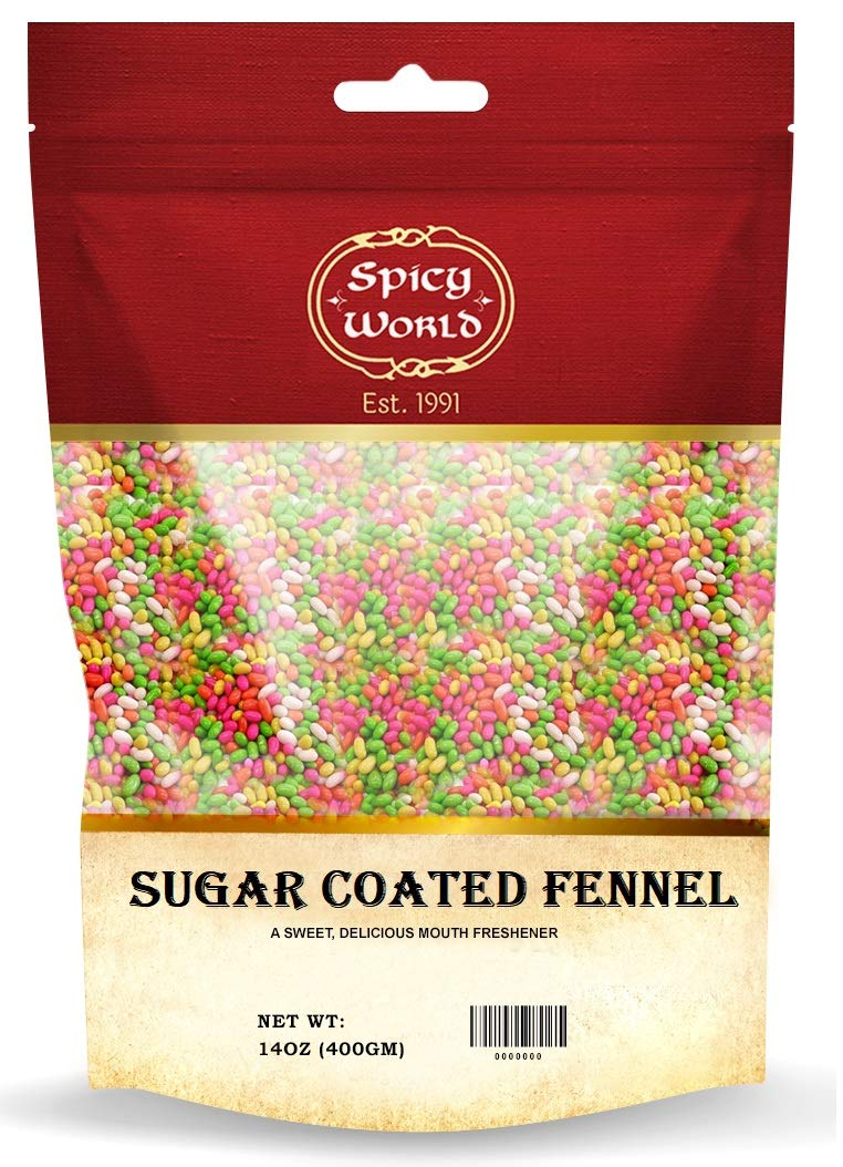 Sugar Coated Fennel Seeds 14 Oz (400g)   Sweet Sauf (Candy)   Mouth Freshener ~ By Spicy World