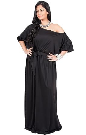 9c24d426374 Adelyn and Vivian KOH KOH Plus Size Womens Plus Size Long One Off Shoulder 3