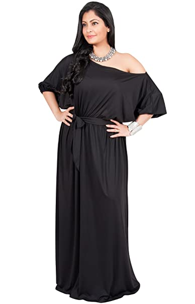 Adelyn & Vivian Plus Size Womens Long One Shoulder 3/4 Short Sleeve Maxi  Dress