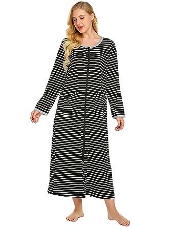 Langle Women s Front Zipper Nightgown Pockets Sleepwear Long Sleepdress  (Black 7bec06482