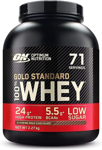 Optimum Nutrition Gold Standard 100% Whey Proteína en Polvo, Glutamina y Aminoácidos Naturales, BCAA, Extremo Chocolate, Leche, 71 Porciones, 2,27kg, ...
