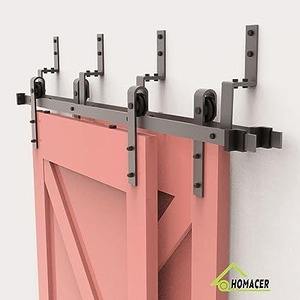 amazon com homacer sliding barn door hardware bypass double doorhomacer sliding barn door hardware bypass double door kit, 6ft flat track z shape