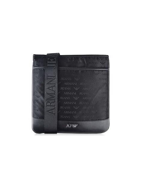 Armani Jeans Uomo Logo Messenger Bag Nero  Amazon.it  Scarpe e borse 49d6fed5fc9