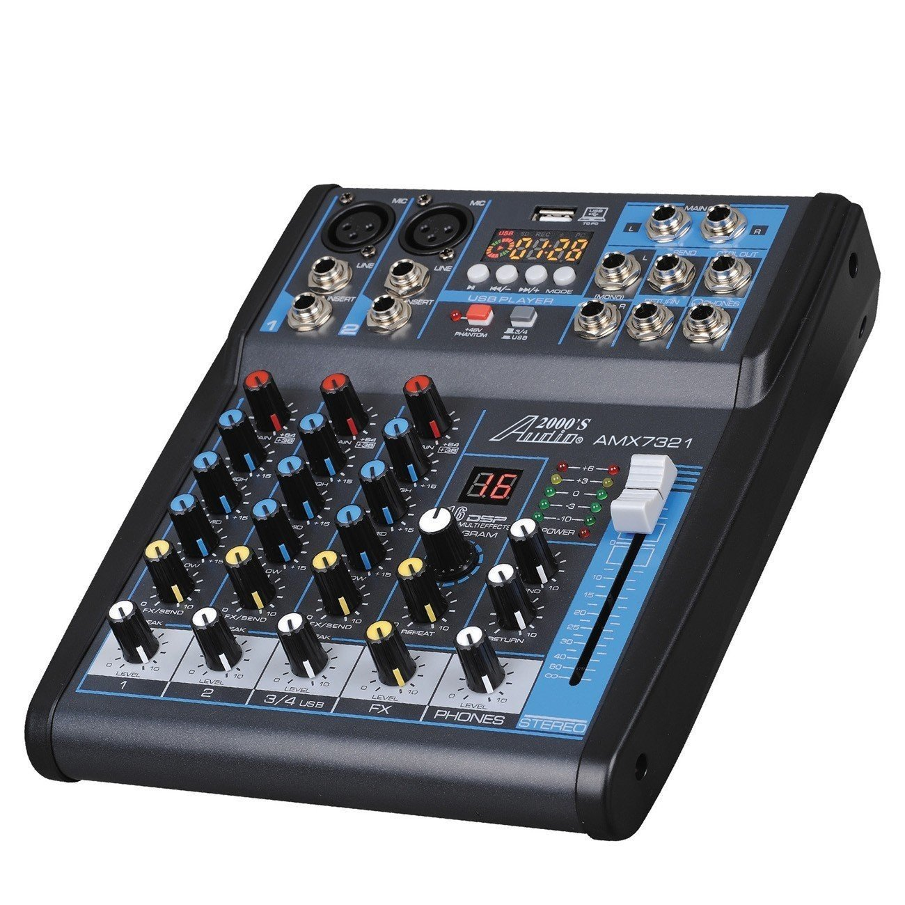 Audio 2000s AMX7321UBT 4-Channel Audio Mixer Sound Board with USB, Bluetooth and Sound Effects by Audio 2000S