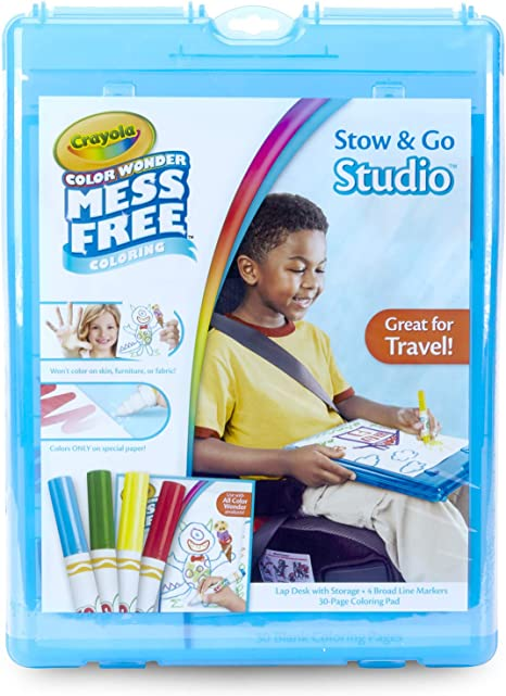 Crayola Color Wonder Stow & Go, Mess Free Coloring, at Home Activities for Kids, Gift, 34 Piece, Blue