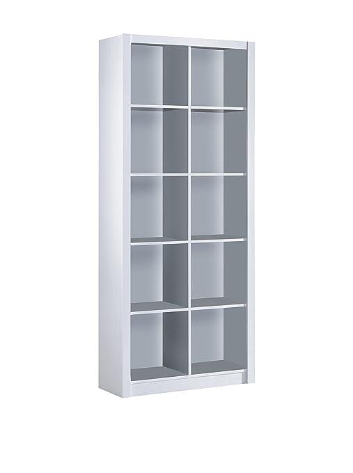 Habitdesign 005492BO - Estantería librería doble, color Blanco Brillo, medidas 195 x 77 x
