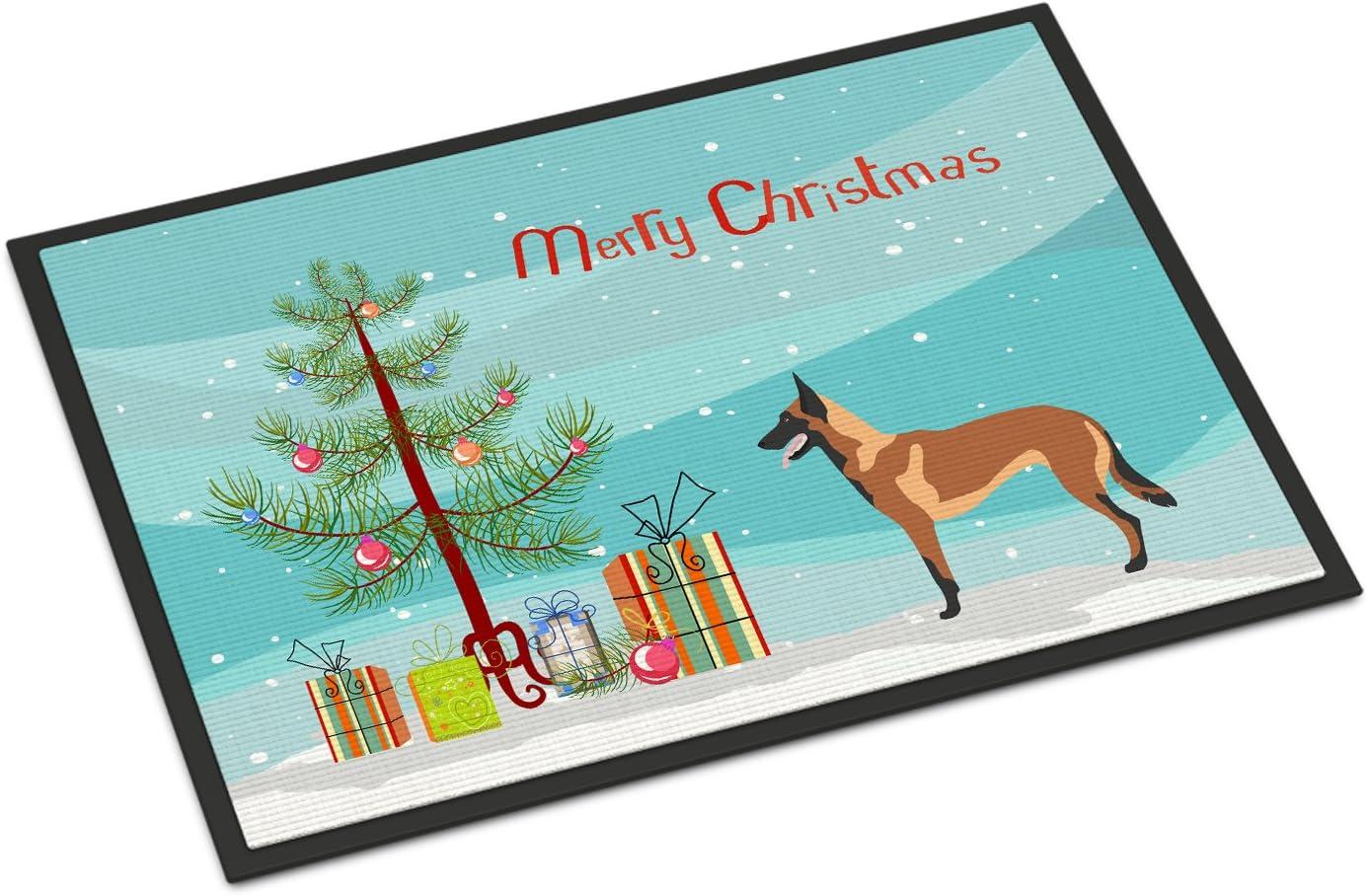 Caroline s Treasures BB8494JMAT Malinois Belgian Shepherd Christmas Indoor or Outdoor Mat 24×36, 24H X 36W, Multicolor