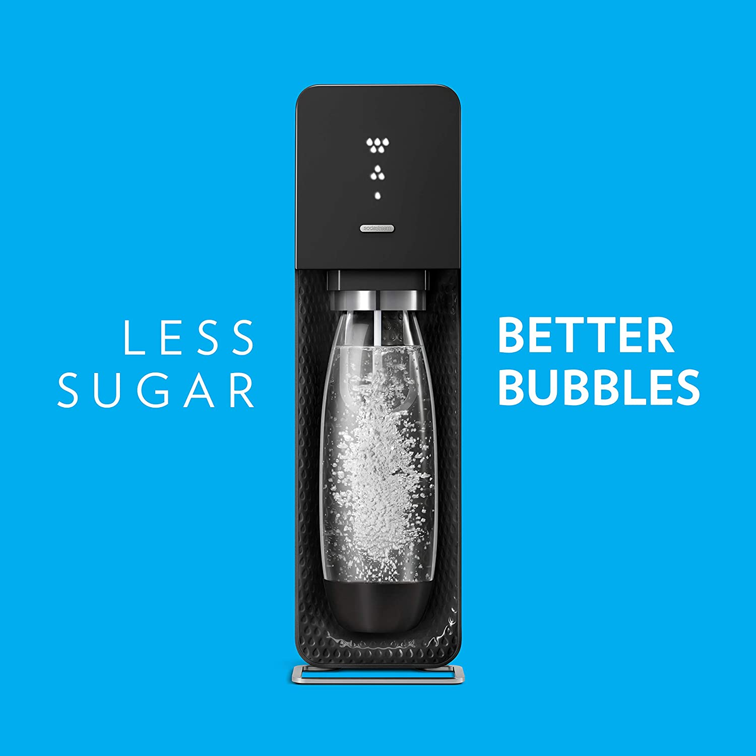with CO2 SodaStream Source Sparkling Water Maker with LED Fizz Indicator Display Bundle Black Bottles and Fruit Drops