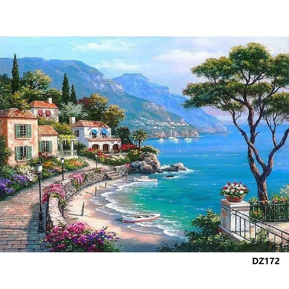 DIY Oil Painting Paint by Number Kit with Scenery Peaple 16x20inch (Wooden Frame, Mediterranean Sea) by Bigie