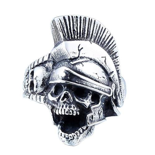 XIABME Anillo de la Roca del cráneo Tasa Casco Espartano Tatuaje ...
