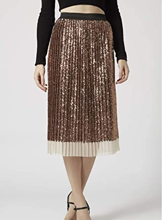 cf3709c704fd Ex Topshop Rose Black Rose Gold Sequin Pleated Midi Party Skirt Size 6-14
