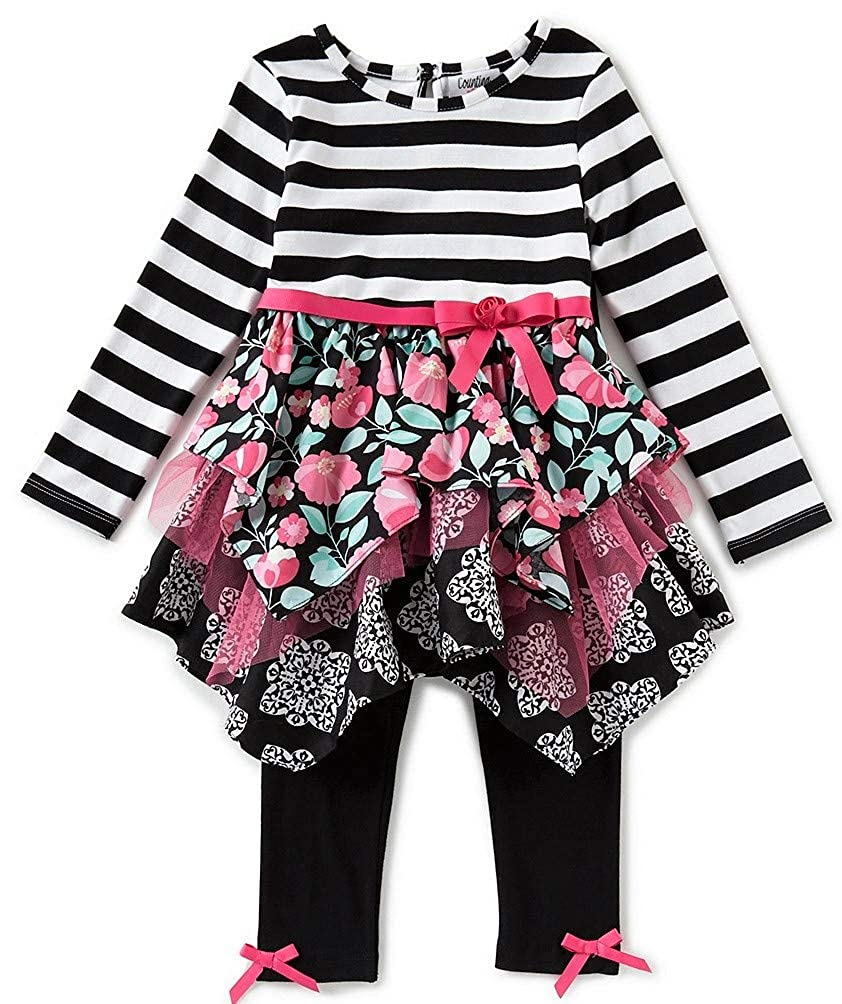Rare Editions Counting Daisies Girls Pink Black Size 2T-6X Hanky Tunic Top Leggings