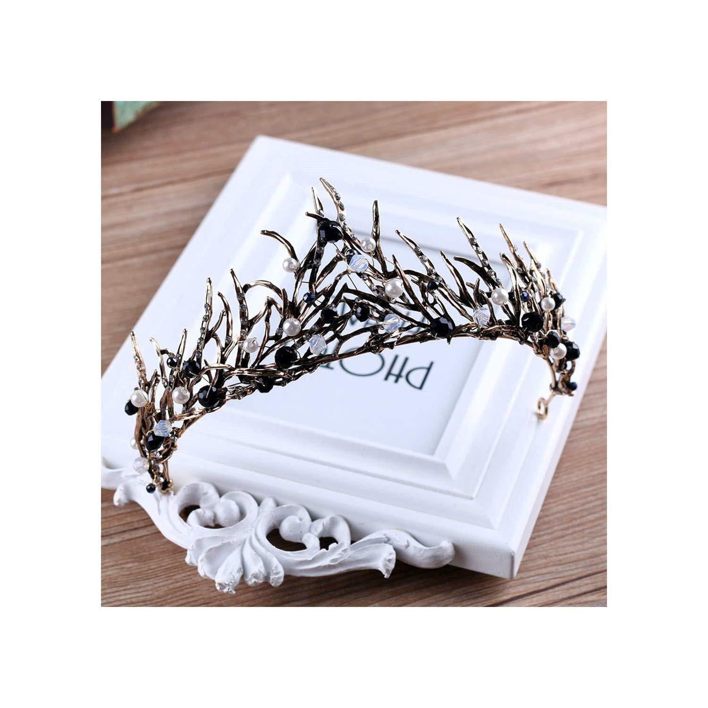 Black Wedding Hairstyles With Crown: Black Baroque Crown Tiaras Wedding Queen Crystal Crowns
