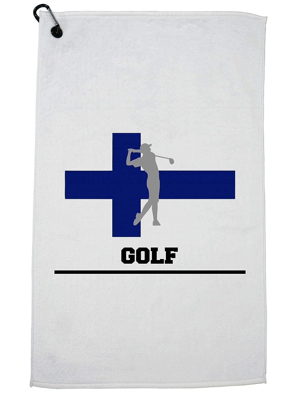 Hollywood Thread Finland Olympic ゴルフ フラッグ シルエット ゴルフタオル カラビナクリップ付き   B07GGTW453