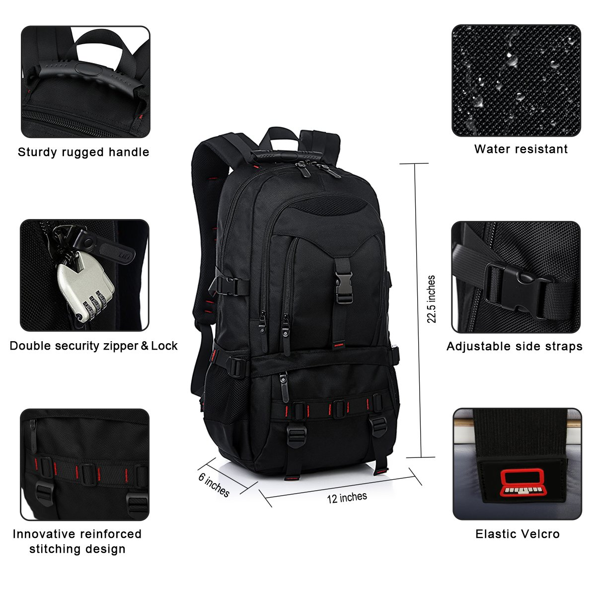 Fashion Laptop Backpack Contains Multi-Function Pockets, Tocode Durable Travel Backpack with USB Charging Port Stylish Anti-Theft School Bag Fits 17.3 Inch Laptop Comfort Pack for Women & Men–Black I by Tocode (Image #5)