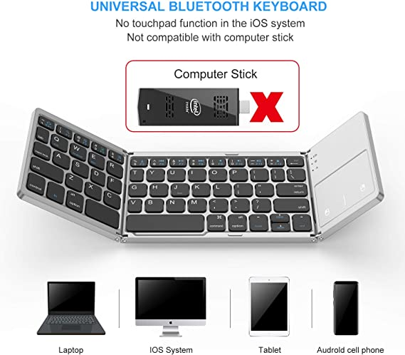 2 Colors Optional ForHe Wireless Bluetooth Keyboard Foldable Touchpad Dual Mode USB Wired Rechargable Portable for Windows iOS Androiid Phone Tablet PC Laptop Desktop