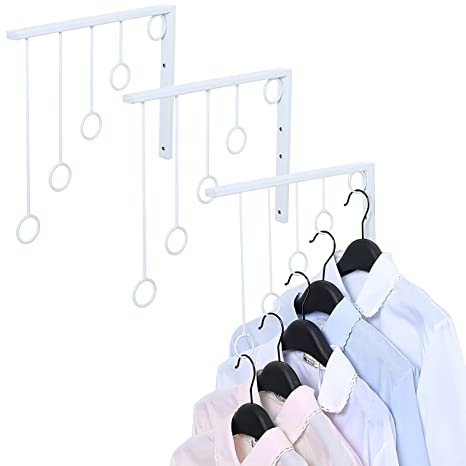 Juego de 3 percheros de pared con 5 anillas para ropa