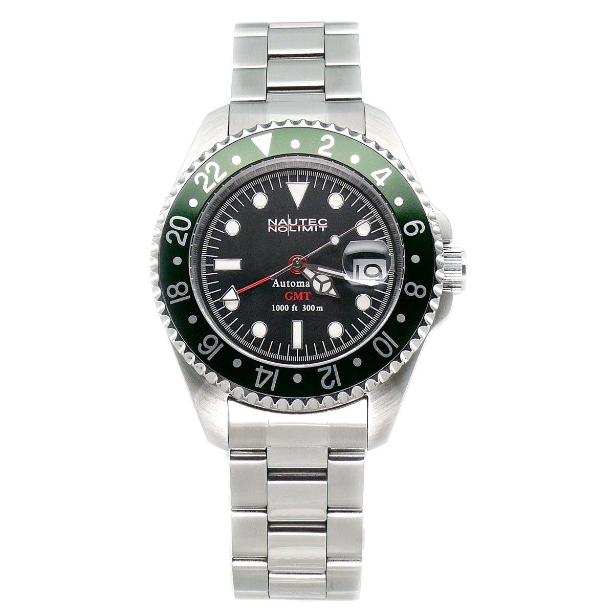 Nautec No Limit Deep Sea DS GMT/STGR - Reloj de caballero automático, correa de acero inoxidable color plata