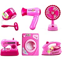 IndusBay® Kitchen & Household Utility Toy Set for Kids Working Household Appliances Toy Set (Dryer, Washing Sewing Machine, Fan, Vacuum Cleaner) Light & Sound Toy for Girls