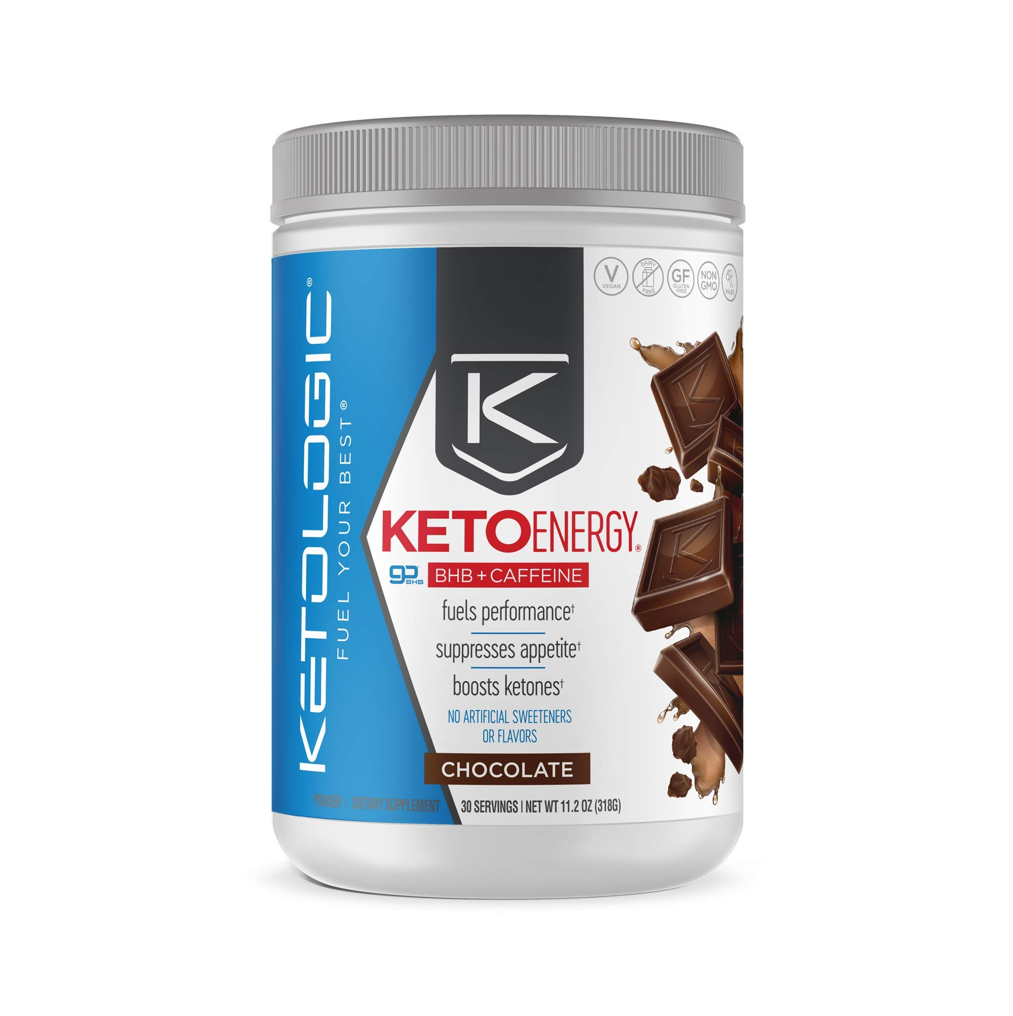KetoLogic Ketoenergy Bhb with Caffeine, Chocolate | Beta-Hydrobutyrate Salts Ketone Powder Supplement | Supports Low-Carb, Keto Diet & Pre-Workout | 30 Servings by Ketologic