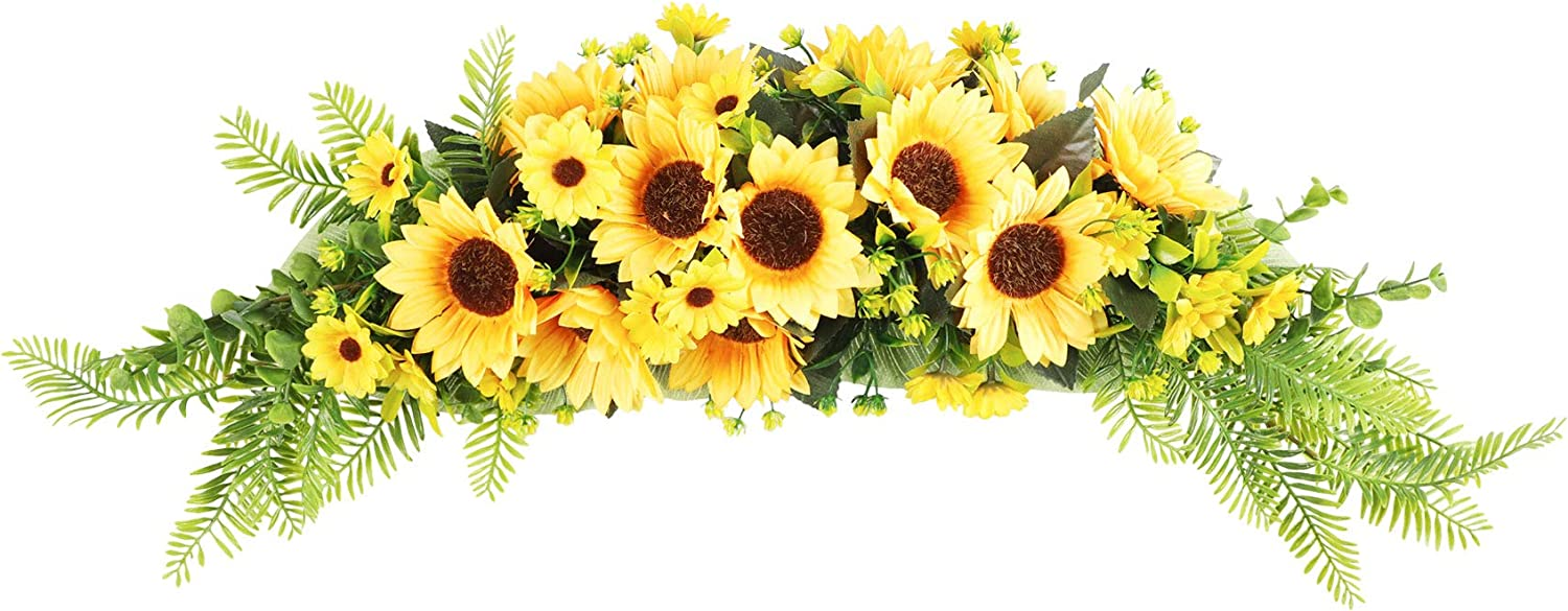 Cekene Artificial Sunflower Swag, 27 Inch Handmade Floral Garland Decorative Swag with Green Leaves for Wedding Arch Party Front Door Wall Decor Home
