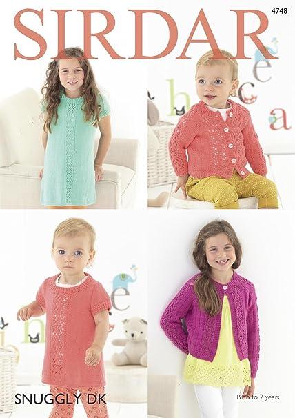 5084069df Sirdar 4748 Knitting Pattern Baby   Girls Dress   Cardigan in Sirdar  Snuggly DK  Amazon.co.uk  Kitchen   Home
