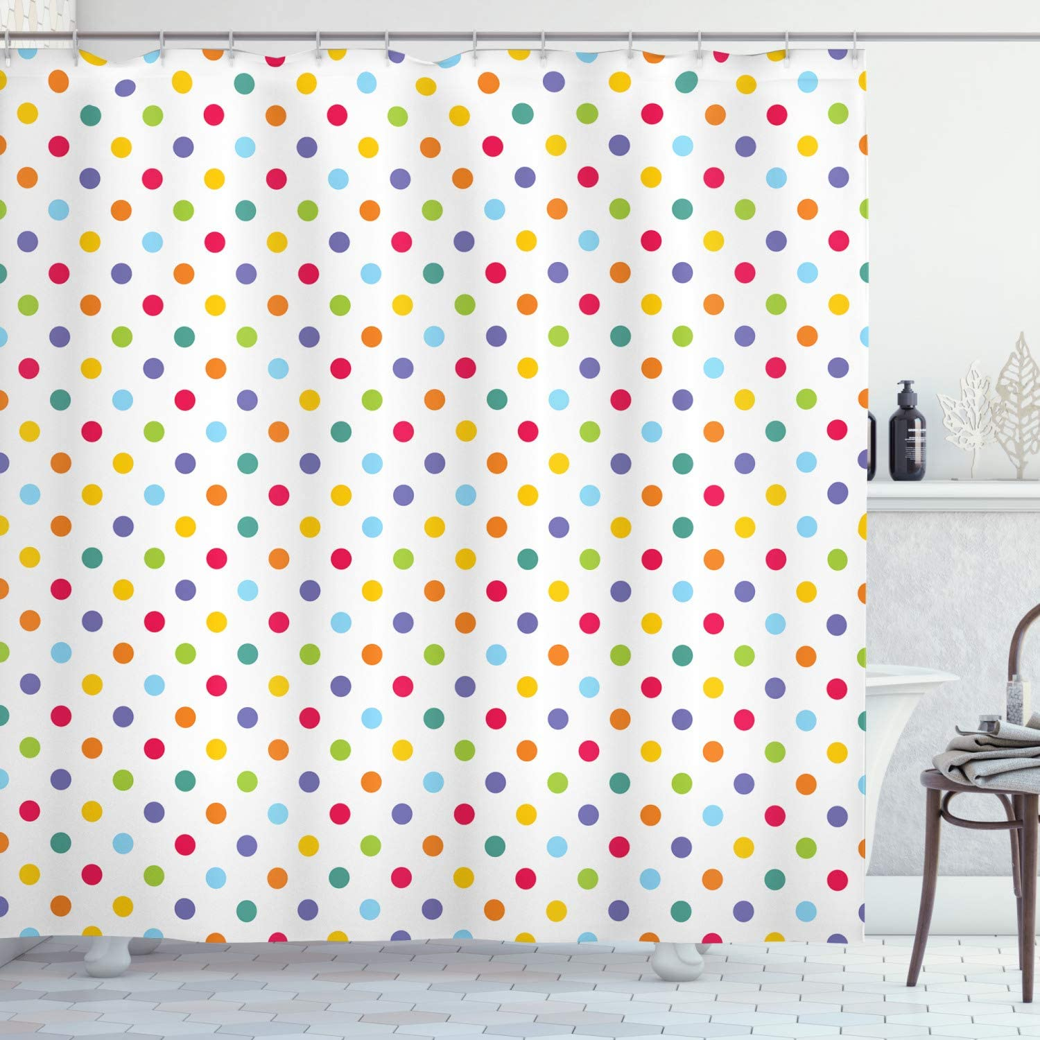 """Ambesonne Abstract Shower Curtain, Colorful Polka Dots Round Circular Vintage Fashion Girls Feminine Baby Design, Cloth Fabric Bathroom Decor Set with Hooks, 75"""" Long, Whiite Purple"""