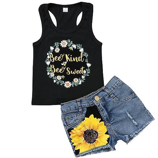 a0acf796 2Pcs/Set Fashion Toddler Kids Baby Girl Sleeveless T-Shirt Top+Floral Denim