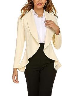 19a0e675ba0a4e Unibelle Blazer Damen Lang Cardigan Tailliert Elegant Casual Jacke Blazer  Slim Fit Anzug Trenchcoat S-