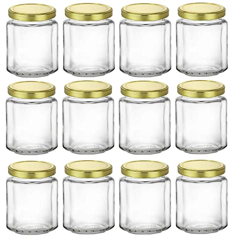 Nakpunar 12 Pcs 6 Oz Beveled Glass Jars With Gold Lids For Jam Honey Wedding Favors Shower Favors Baby Foods Diy Magnetic Spice Jars 6 Oz Gold