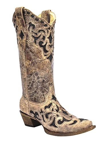 Corral Women's Brown & Black Stingray Inlay Snip Toe Boots A3188