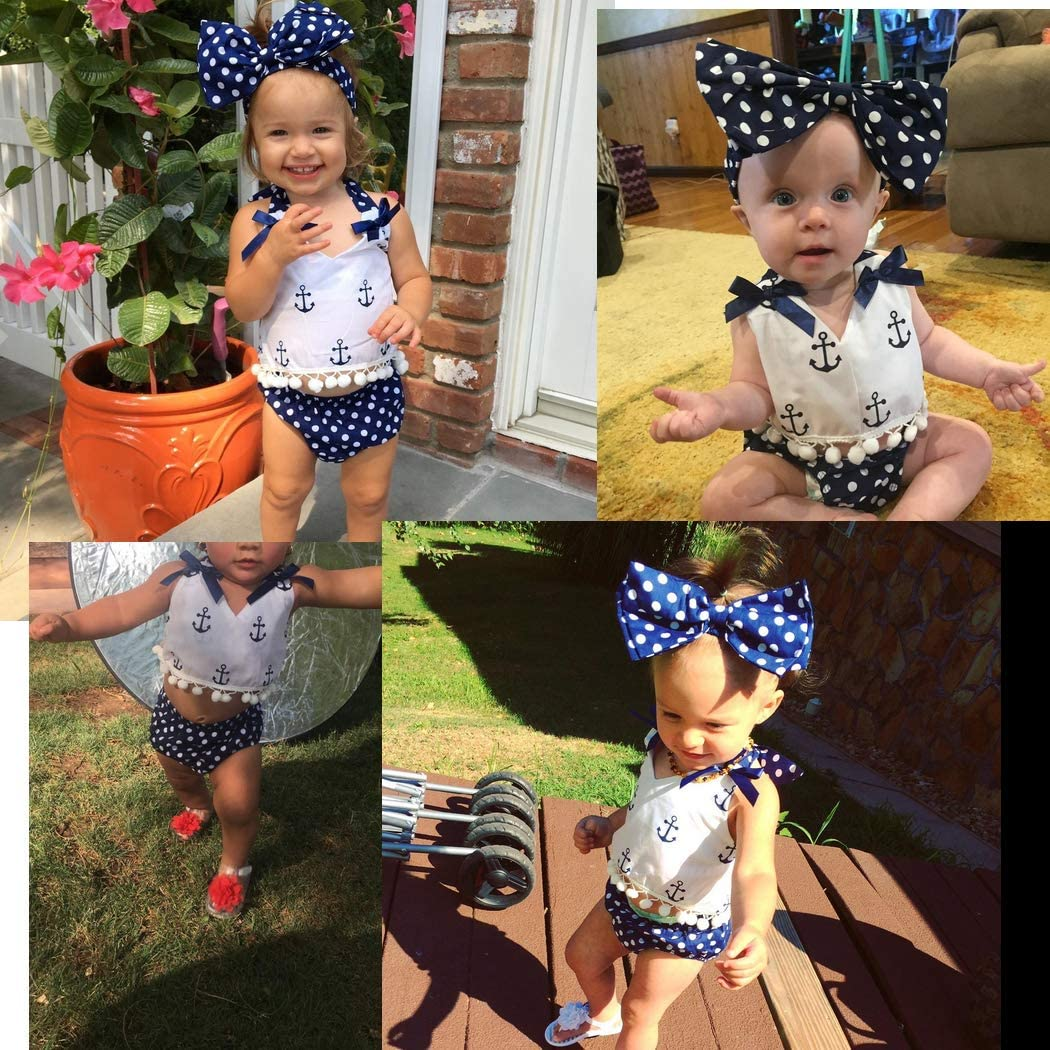 CQHY MALL Baby Girls Anchor Outfits Set Infant Girls Halter Tassels Tops Polka Dot Briefs Shorts Set Clothes Set Sunsuits