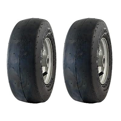 MARASTAR 20402-2pk 11x4.00-5 Smooth Universal Mower Tire Assembly 20402, Black : Garden & Outdoor [5Bkhe1502885]