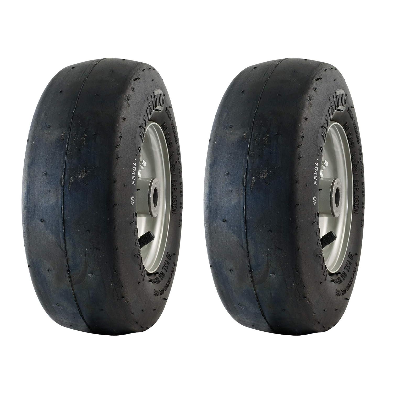 MARASTAR 20402-2pk 11x4.00-5 Smooth Universal Mower Tire Assembly 20402, Black